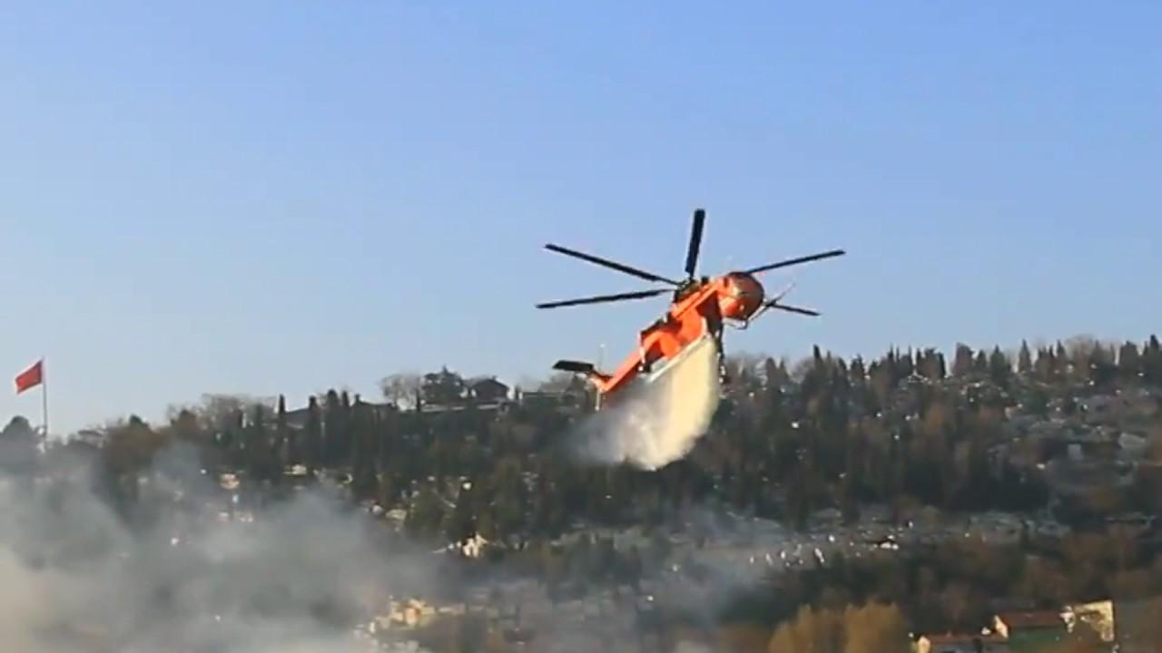Türkiye'den gelen helikopter yangına müdahele ediyor…