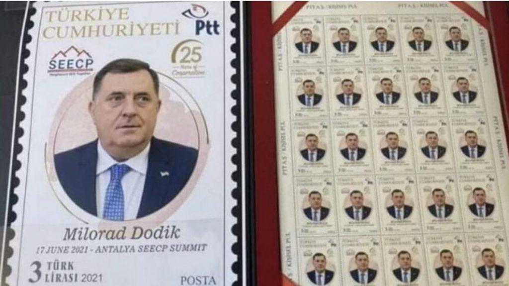 PTT'nin puluna Dodik'in resminin bastırılması tepki çekti! 'Bu yanlış acilen düzeltilmeli'