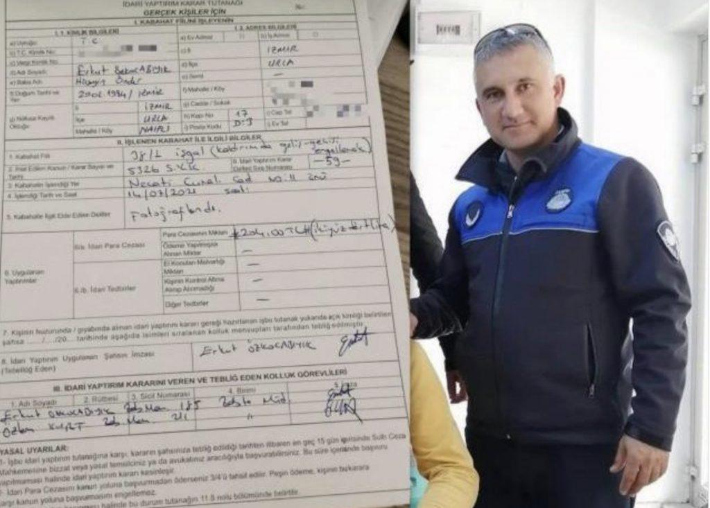 Urla'da zabıta memuru kendi motosikletini yaya kaldırımına koyunca kendisine cezai işlem uyguladı!